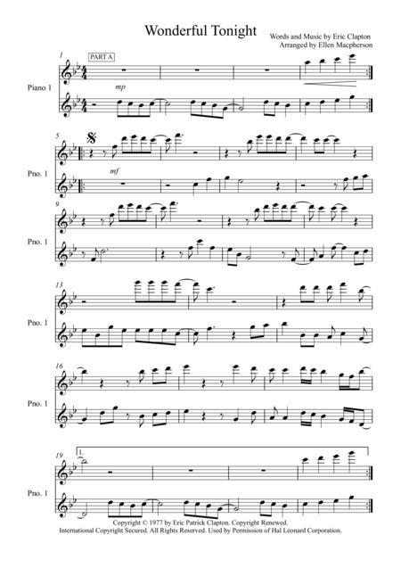 Wonderful Tonight / Eric Clapton/ Piano Duet / Part A