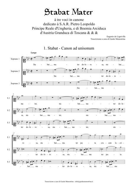 Eugenio de Ligniville - Stabat Mater à tre voci in Canone - First Part (canons 1-10)