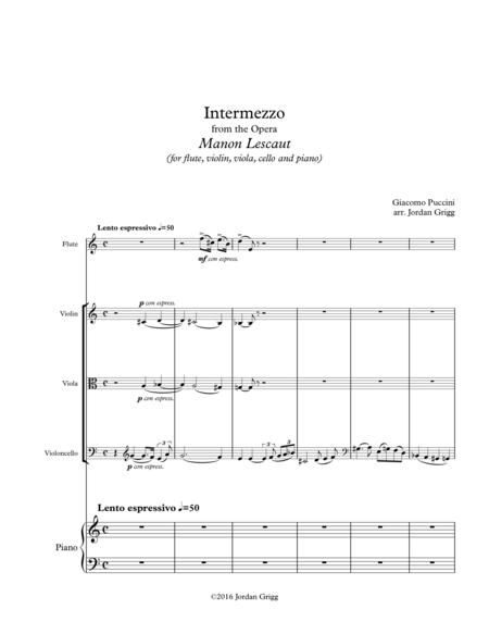 Intermezzo from the Opera Manon Lescaut (for flute, violin, viola, cello and piano)