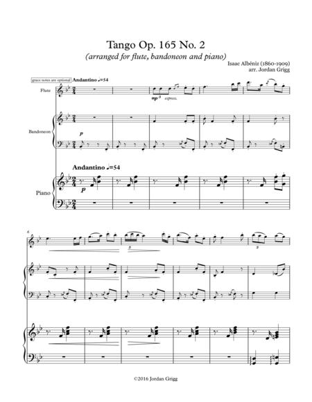 Tango Op. 165 No. 2 (arranged for flute, bandoneon and piano)