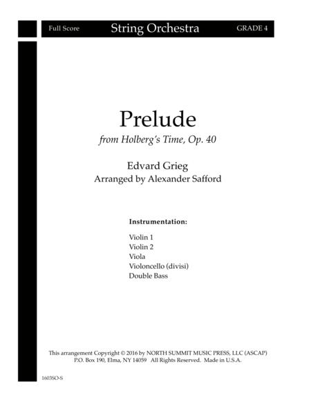 Prelude From Holberg's Time Op. 40 (Holberg Suite) Score and Parts