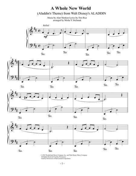 A Whole New World, easy piano solo
