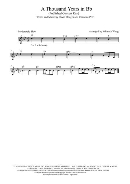 Download A Thousand Years Flute And Piano In Published Bb Key