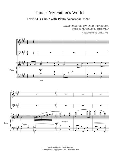 This Is My Father's World for SATB Choir with Piano Accompaniment