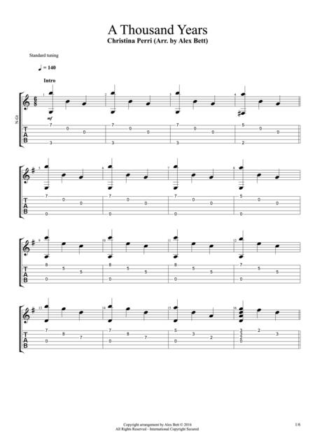 Download A Thousand Years (Fingerstyle Guitar) Sheet Music By ...