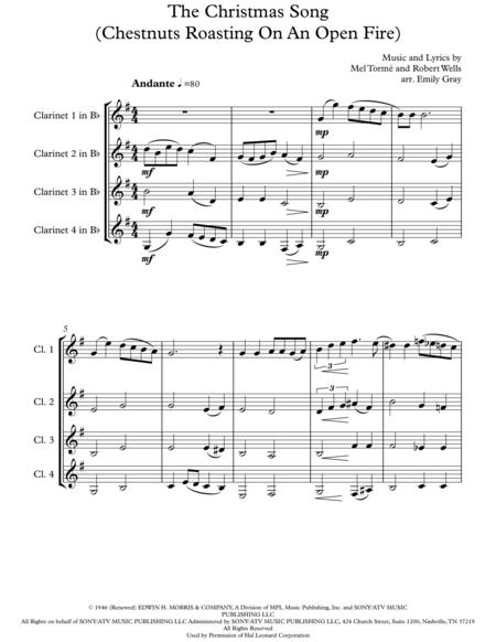 The Christmas Song (Chestnuts Roasting On An Open Fire) - 4 Clarinets