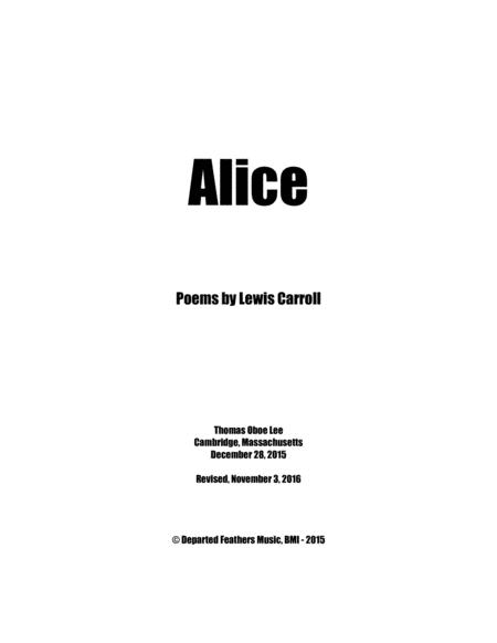 Alice Poems By Lewis Carroll 2015 For Mezzo Soprano