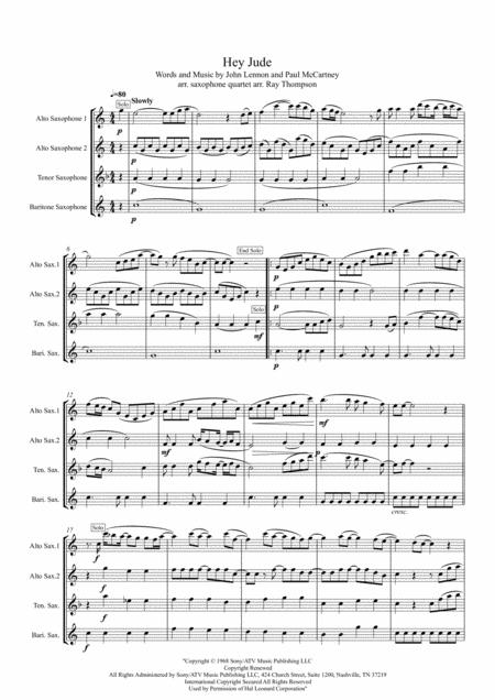 Download Beatles Hey Jude Saxophone Quartet Sheet Music By The