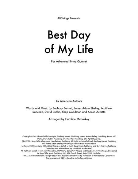 Best Day Of My Life - String Quartet