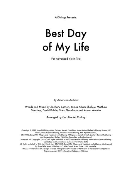 Best Day Of My Life - Violin Trio