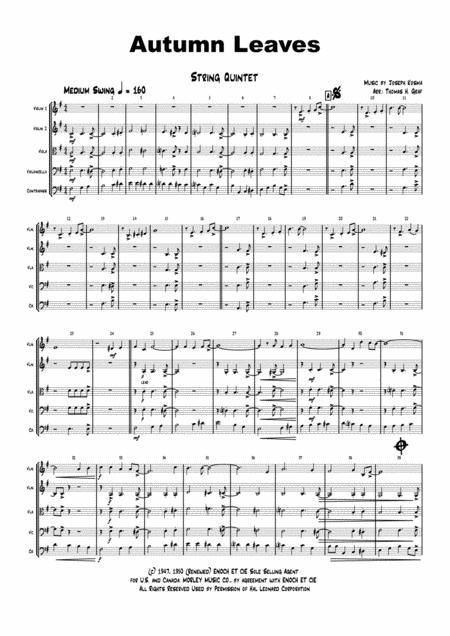 Autumn Leaves - Jazz Classic - Les feuilles mortes - String Quintet