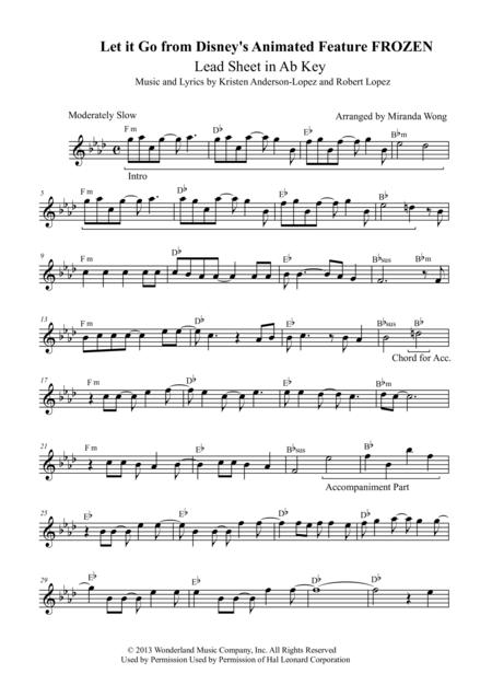 Let It Go (from Frozen) - Lead Sheet in Ab Key (With Chords)
