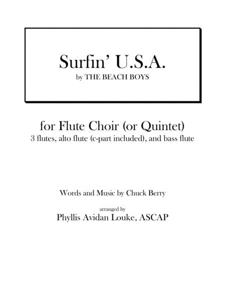 Surfin' U.S.A. by The Beach Boys for Flute Quintet or Flute Choir