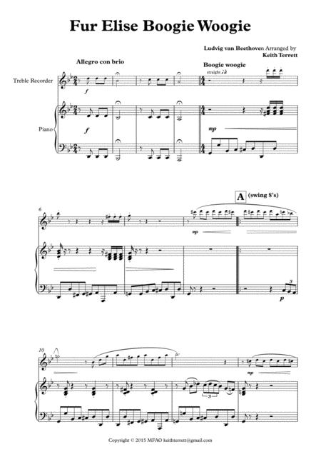 Für Elise Boogie Woogie for Treble Recorder & Piano