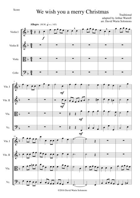 We wish you a merry Christmas (after the Arthur Warrell adaptation) for string quartet