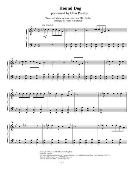 Hound Dog, easy piano