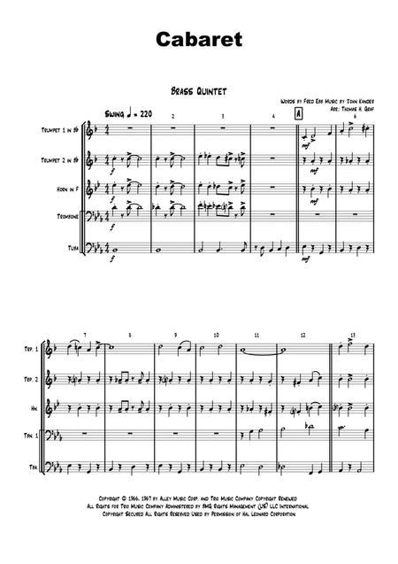 Cabaret - Jazz - Liza Minelli - Brass Quintet