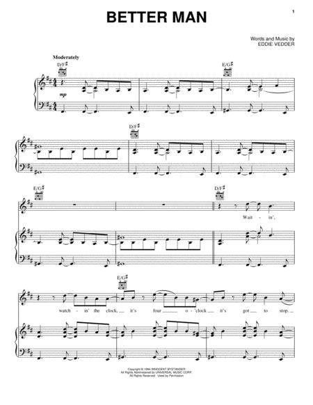 Download Better Man Sheet Music By Pearl Jam - Sheet Music Plus