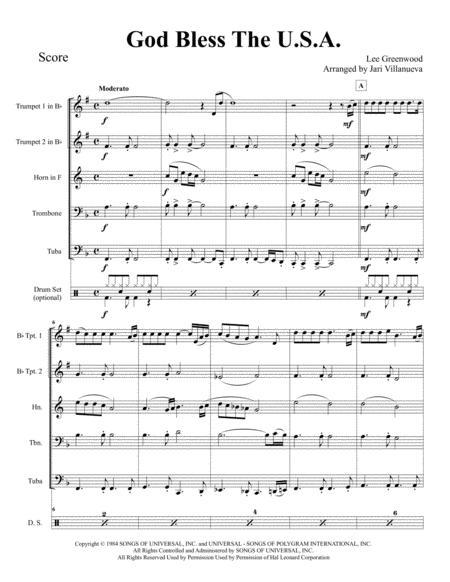 God Bless The U.S.A. for Brass Quintet