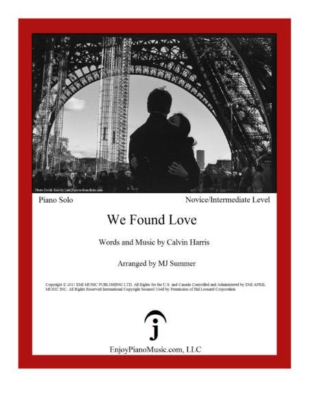 We Found Love - Rihanna, Intermediate Level for Piano Solo