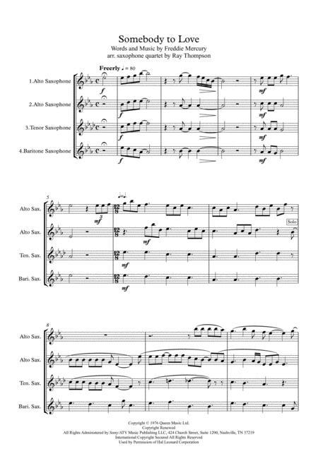 Queen: Somebody To Love - saxophone quartet