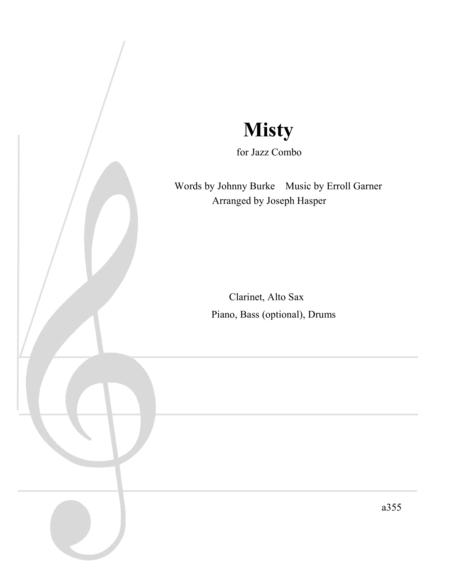 Misty for Clarinet, Alto Sax, Piano and Drums with Optional Bass