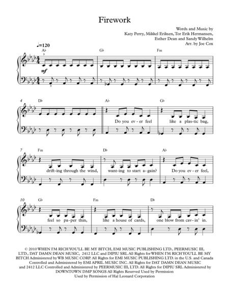 Download Firework Sheet Music By Katy Perry Sheet Music Plus