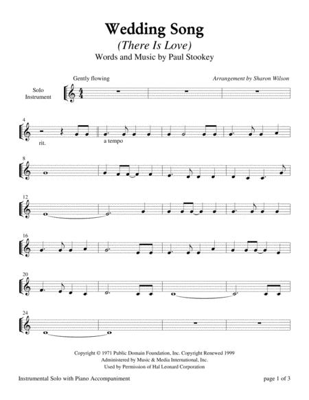 Wedding Song (There Is Love) - for C Instrument Solo with Piano Accompaniment