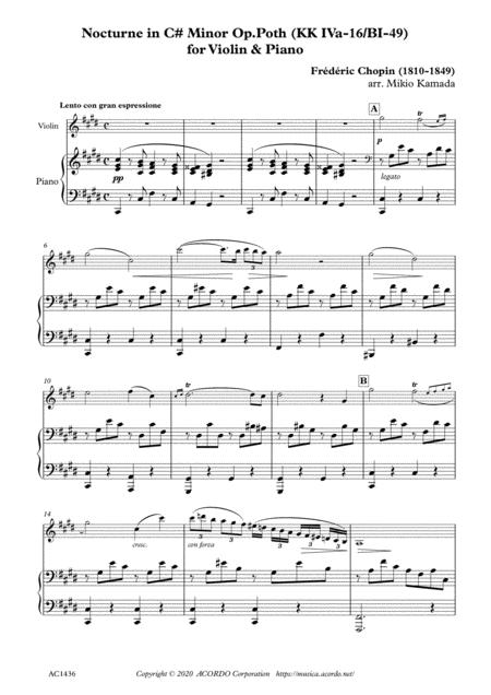 Nocturne in C# Minor Op.Poth (KK IVa-16/BI-49) for Violin & Piano