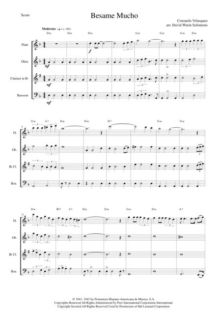 Download Besame Mucho For Wind Quartet And Optional Guitar Chords ...