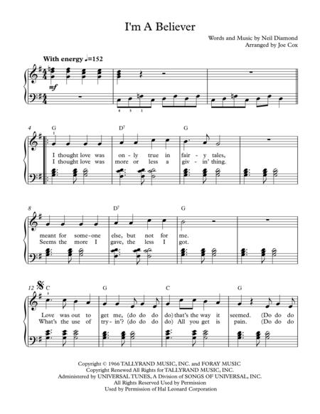 Download Im A Believer Sheet Music By The Monkees Sheet Music Plus