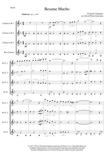 Besame Mucho for clarinet quartet (3 B flats and 1 Bass)