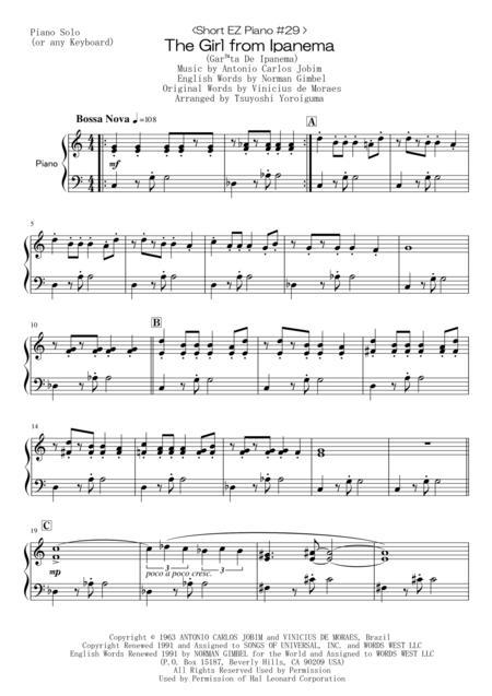 <Short EZ Piano #29 > The Girl From Ipanema (Garota De Ipanema)