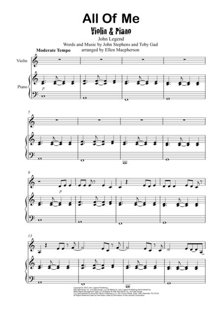 image about All of Me Easy Piano Sheet Music Free Printable titled Down load All Of Me / John Legend / Violin Piano Sheet
