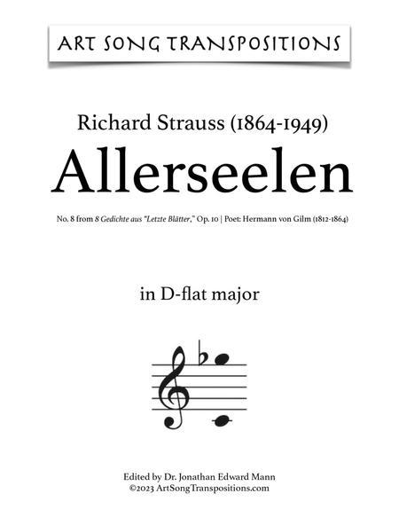 Allerseelen, Op. 10 no. 8 (D-flat major)