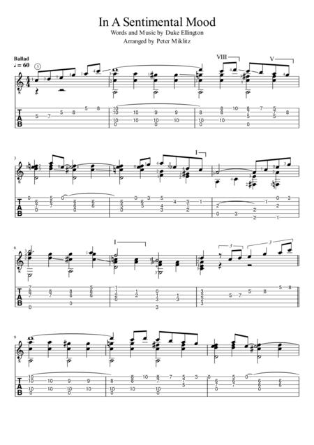 In A Sentimental Mood (Standard Notation and TAB)
