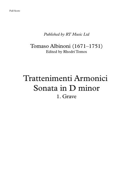 Albinoni Op.6 No.4 Trattenimenti armonici Sonata in D minor  1. Grave. Full score and parts.