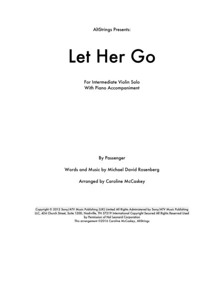 Let Her Go - Violin Solo, Piano Accompaniment