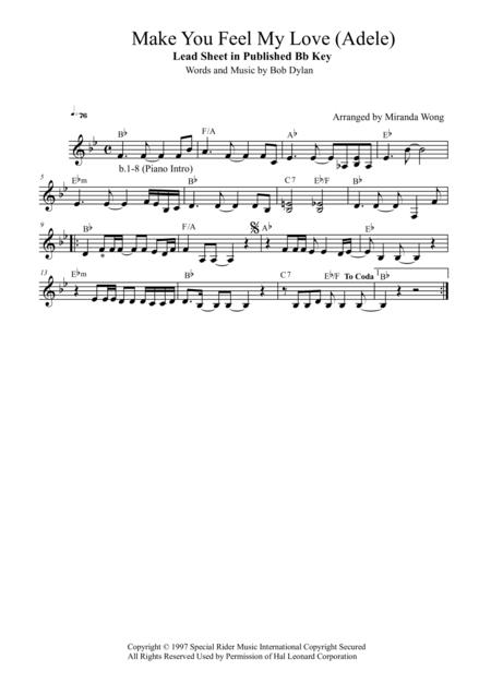 Download Make You Feel My Love (Adele) - Lead Sheet At Published Bb ...