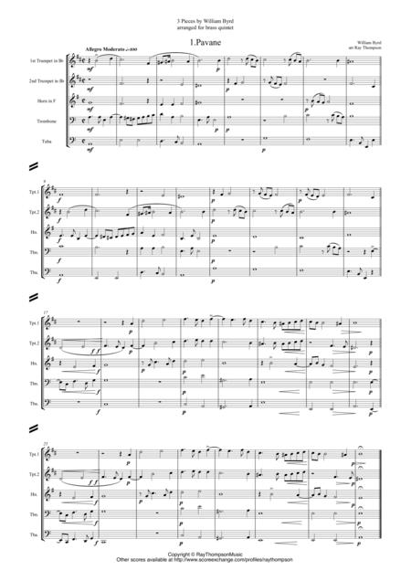 Byrd: 3 Pieces by William Byrd (including Pavane) - brass quintet