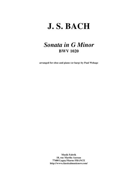J. S. Bach:  Sonata in g minor, BWV 1020 arranged for oboe and piano (or harp)