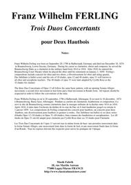 Franz Wilhelm Ferling: 3 Duos Concertants for 2 Oboes, Op. 13 , edited by Paul Wehage