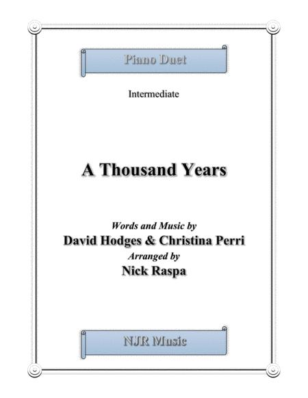 Download A Thousand Years 1 Piano 4 Hands Sheet Music By Christina