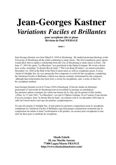 Jean-Georges Kastner: Variations Faciles et Brillantes for alto saxophone and piano
