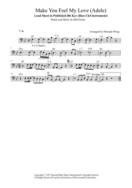 Make You Feel My Love (Adele) - Cello Solo in Published Bb Key (With Chords)