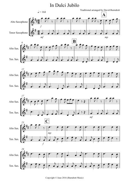 In Dulci Jublio for Alto and Tenor Saxophone Duet