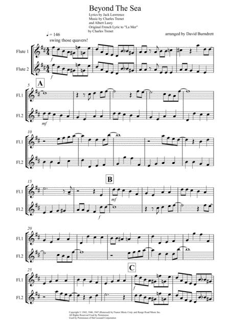 Download Beyond The Sea For Flute Duet Sheet Music By Bobby Darin