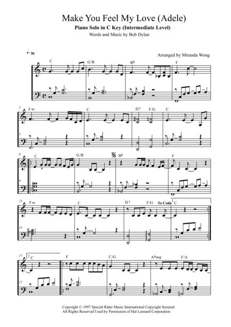 Download Make You Feel My Love - Piano Solo In C Key (With Chords ...