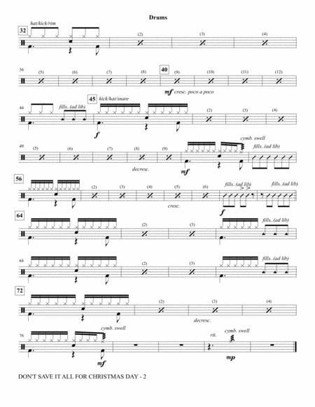 Don't Save It All For Christmas Day - Drum Set By By Celine Dion - Digital Sheet Music For ...