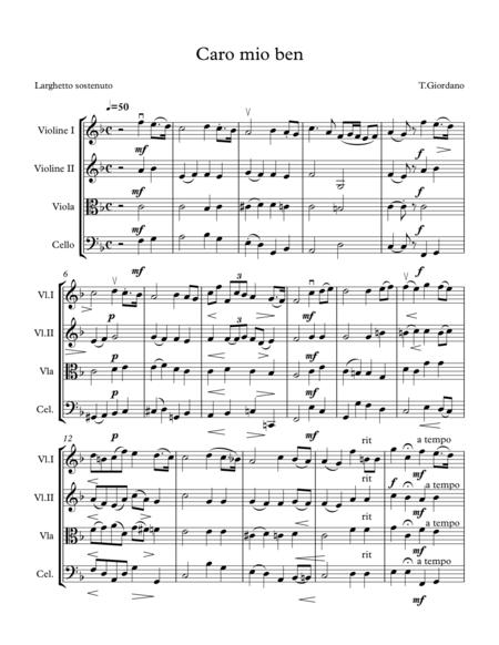 Caro Mio Ben for string quartet